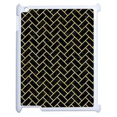 Brick2 Black Marble & Yellow Watercolor (r) Apple Ipad 2 Case (white)