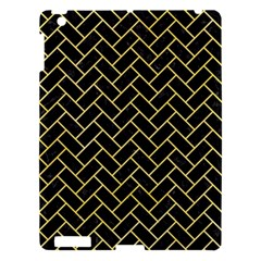 Brick2 Black Marble & Yellow Watercolor (r) Apple Ipad 3/4 Hardshell Case