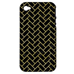 Brick2 Black Marble & Yellow Watercolor (r) Apple Iphone 4/4s Hardshell Case (pc+silicone)