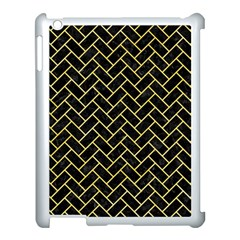 Brick2 Black Marble & Yellow Watercolor (r) Apple Ipad 3/4 Case (white)