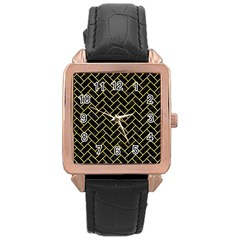 Brick2 Black Marble & Yellow Watercolor (r) Rose Gold Leather Watch
