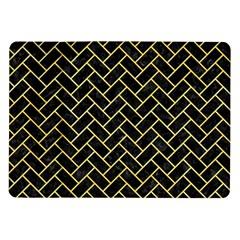 Brick2 Black Marble & Yellow Watercolor (r) Samsung Galaxy Tab 10 1  P7500 Flip Case