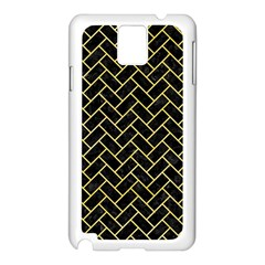 Brick2 Black Marble & Yellow Watercolor (r) Samsung Galaxy Note 3 N9005 Case (white)