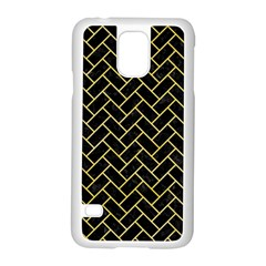Brick2 Black Marble & Yellow Watercolor (r) Samsung Galaxy S5 Case (white)