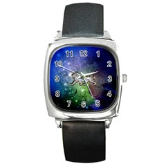 Wonderful Lion Silhouette On Dark Colorful Background Square Metal Watch