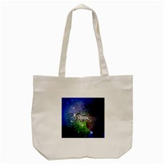 Wonderful Lion Silhouette On Dark Colorful Background Tote Bag (cream)