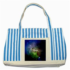 Wonderful Lion Silhouette On Dark Colorful Background Striped Blue Tote Bag