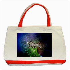 Wonderful Lion Silhouette On Dark Colorful Background Classic Tote Bag (red)