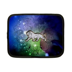 Wonderful Lion Silhouette On Dark Colorful Background Netbook Case (small)