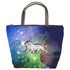 Wonderful Lion Silhouette On Dark Colorful Background Bucket Bags