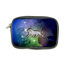 Wonderful Lion Silhouette On Dark Colorful Background Coin Purse