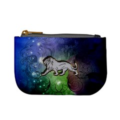 Wonderful Lion Silhouette On Dark Colorful Background Mini Coin Purses