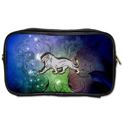 Wonderful Lion Silhouette On Dark Colorful Background Toiletries Bags