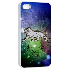 Wonderful Lion Silhouette On Dark Colorful Background Apple Iphone 4/4s Seamless Case (white)