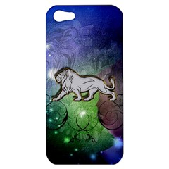 Wonderful Lion Silhouette On Dark Colorful Background Apple Iphone 5 Hardshell Case