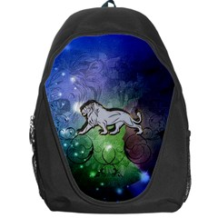 Wonderful Lion Silhouette On Dark Colorful Background Backpack Bag