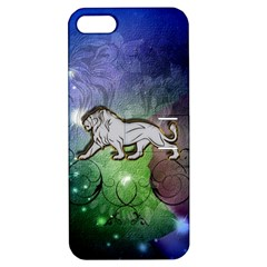 Wonderful Lion Silhouette On Dark Colorful Background Apple Iphone 5 Hardshell Case With Stand