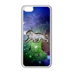 Wonderful Lion Silhouette On Dark Colorful Background Apple Iphone 5c Seamless Case (white)