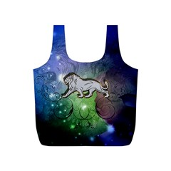 Wonderful Lion Silhouette On Dark Colorful Background Full Print Recycle Bags (s)