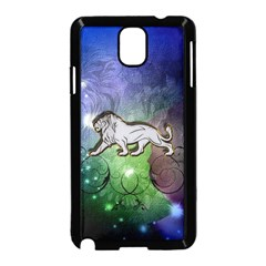 Wonderful Lion Silhouette On Dark Colorful Background Samsung Galaxy Note 3 Neo Hardshell Case (black)