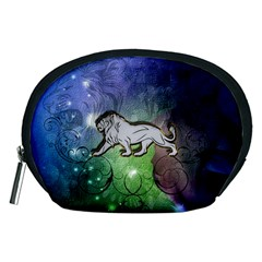 Wonderful Lion Silhouette On Dark Colorful Background Accessory Pouches (medium)