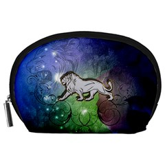 Wonderful Lion Silhouette On Dark Colorful Background Accessory Pouches (large)