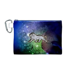 Wonderful Lion Silhouette On Dark Colorful Background Canvas Cosmetic Bag (m)