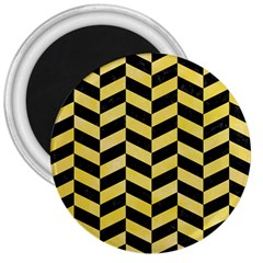 Chevron1 Black Marble & Yellow Watercolor 3  Magnets