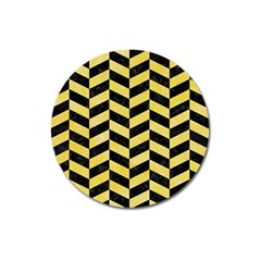 Chevron1 Black Marble & Yellow Watercolor Magnet 3  (round)