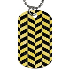 Chevron1 Black Marble & Yellow Watercolor Dog Tag (one Side)