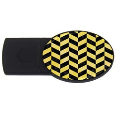 Chevron1 Black Marble & Yellow Watercolor Usb Flash Drive Oval (2 Gb)