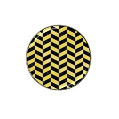 Chevron1 Black Marble & Yellow Watercolor Hat Clip Ball Marker (10 Pack)