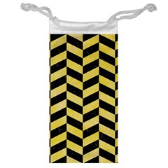 Chevron1 Black Marble & Yellow Watercolor Jewelry Bag