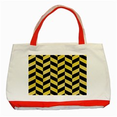 Chevron1 Black Marble & Yellow Watercolor Classic Tote Bag (red)