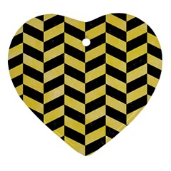 Chevron1 Black Marble & Yellow Watercolor Heart Ornament (two Sides)