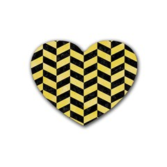 Chevron1 Black Marble & Yellow Watercolor Heart Coaster (4 Pack)