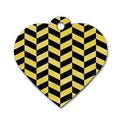 Chevron1 Black Marble & Yellow Watercolor Dog Tag Heart (two Sides)