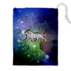 Wonderful Lion Silhouette On Dark Colorful Background Drawstring Pouches (xxl)