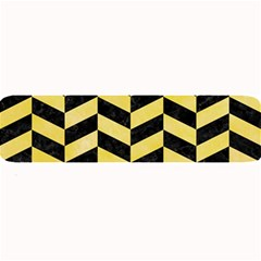 Chevron1 Black Marble & Yellow Watercolor Large Bar Mats