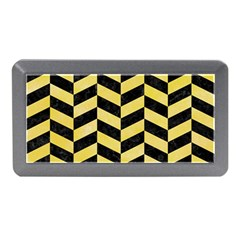 Chevron1 Black Marble & Yellow Watercolor Memory Card Reader (mini)