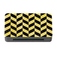 Chevron1 Black Marble & Yellow Watercolor Memory Card Reader With Cf