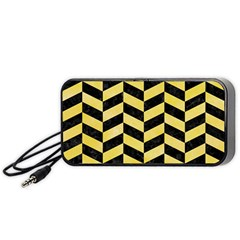 Chevron1 Black Marble & Yellow Watercolor Portable Speaker