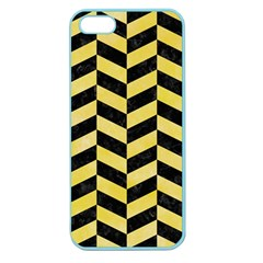 Chevron1 Black Marble & Yellow Watercolor Apple Seamless Iphone 5 Case (color)