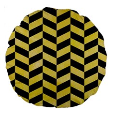 Chevron1 Black Marble & Yellow Watercolor Large 18  Premium Round Cushions