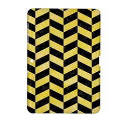 Chevron1 Black Marble & Yellow Watercolor Samsung Galaxy Tab 2 (10 1 ) P5100 Hardshell Case