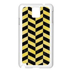 Chevron1 Black Marble & Yellow Watercolor Samsung Galaxy Note 3 N9005 Case (white)