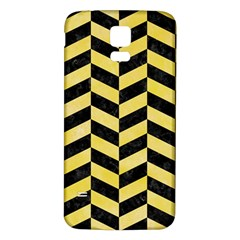 Chevron1 Black Marble & Yellow Watercolor Samsung Galaxy S5 Back Case (white)