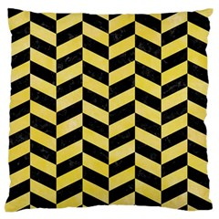 Chevron1 Black Marble & Yellow Watercolor Large Flano Cushion Case (one Side)