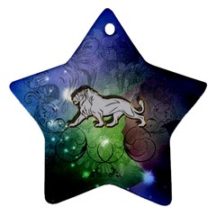 Wonderful Lion Silhouette On Dark Colorful Background Ornament (star)
