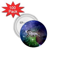 Wonderful Lion Silhouette On Dark Colorful Background 1 75  Buttons (100 Pack)